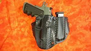 Details about HOLSTER WITH EXTRA MAG BLACK CARBON KYDEX FITS Kimber CUSTOM  II OWB