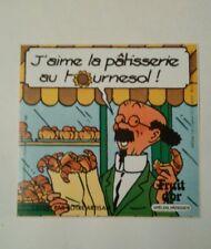 Autocollant publicitaire Fruit d'or Tintin Tournesol 8 x 8 cm