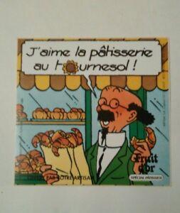 Autocollant-publicitaire-Fruit-d-039-or-Tintin-Tournesol-8-x-8-cm