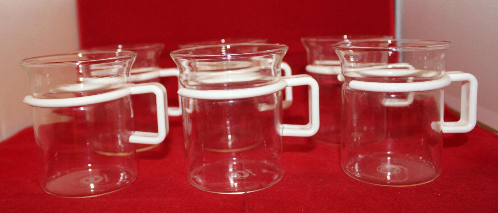 Bodum Bistro Short Hot Iced Clear Glass Coffee Tea Mug Cup Set of 6 White Handle