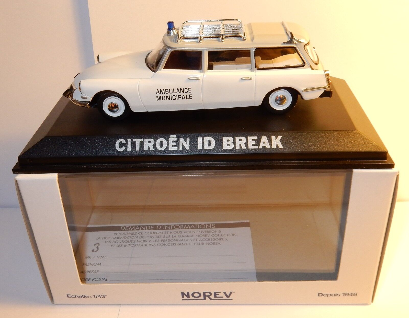 NOREV CITROEN DS ID 19 BREAK AMBULANCE MUNICIPAL EMERGENCY 1 43 IN BOX