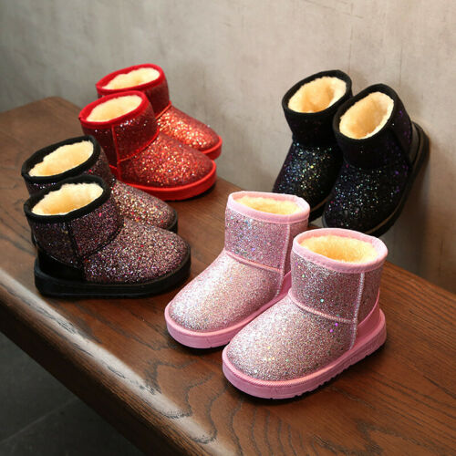 Winter Child Kids Sequin Ankle Snow Warm Boots Boys Girls Casual Sneaker Shoes