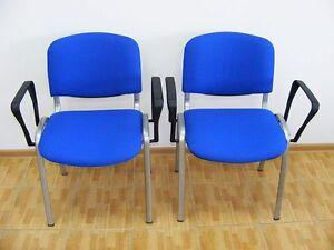 2er-Set-Besucherstuehle-aluminium-blau-Armlehnen-Konferenzstuehle-Stuhl-Buero-NEU