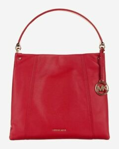 4a6604ef3cdea6 Michael Kors Lex Large Convertible Hobo Bag Style # 30H7GZ9H3L Bright Red