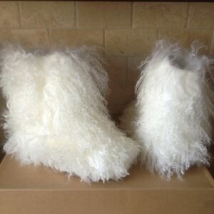 a1b8c37f4a1 Details about UGG Fluff Momma Long Mongolian Fluffy Sheepskin White Short  Boots Size 8 Womens