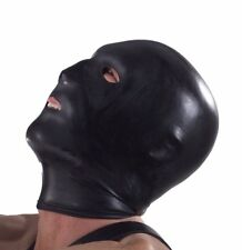 Black Hood with Eye Mouth and Nose Holes Latex Rubber Bondage S&M Torture DE416