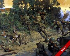 134TH INFANTRY POST D-DAY WWII PAINTING US MILITARY HISTORY ART CANVAS PRINT
