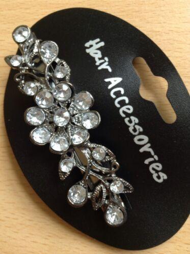 A Beautiful Silver Flower Diamanté Metal Barrette Hair Clip