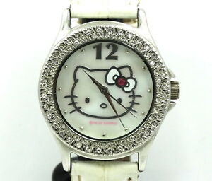 780e17889 Image is loading SANRIO-Rhinestone-HELLO-KITTY-Stainless-Steel-back-Quartz-
