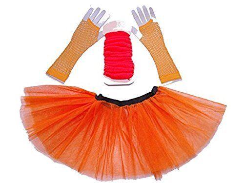 80/'S HEN PARTY HOT NEON FANCY DRESS TUTU SKIRT SET 3PC LEGWARMERS FISHNET LOT