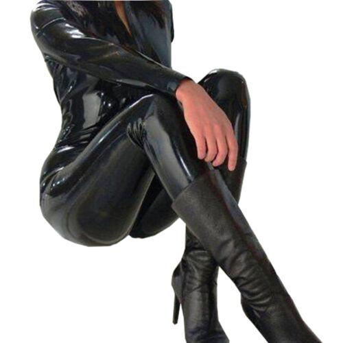 Fat 18 20 22 24 Black Shiny PVC CATSUIT Catwoman Ladies Fancy Dress Faux COSTUME