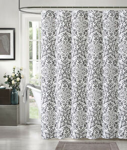 Image Is Loading 100 Cotton Silver And White Fabric Shower Curtain