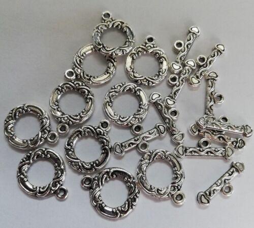 2 choix-fancy circle Tibetan Silver Toggle fermoirs Corde Cercle
