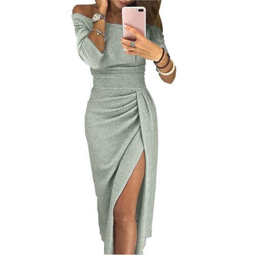 Damen Schulterfrei Langarm Kleid Abendkleid Partykleid Tunika Bodycon Maxikleid