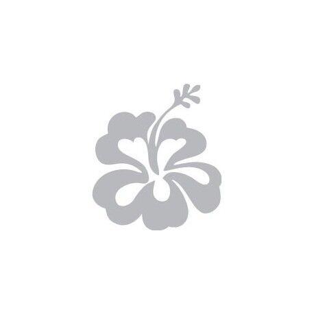 Hibiscus fleur autocollant sticker gris Taille:5 x 6 cm