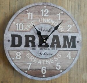 RUSTIC ROUND WALL CLOCK / THE UNKOWN DREAM / METAL & WOOD EFFECT UK SELLER