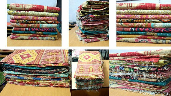 Indian Vintage Kantha Quilt Reversible Throw Handmade Blanket Wholesale Lot 05