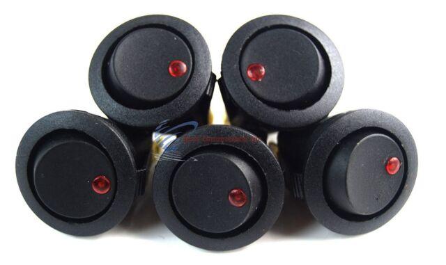 10 PCS ROCKER SWITCH ON ON MINI TOGGLE RED LED 3P SPST 125V 15 AMP EC-315