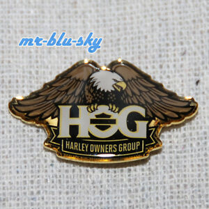 Enamel-Brass-Eagle-Pin-Harley-Davidson-Owners-Group-HOG-H-O-G