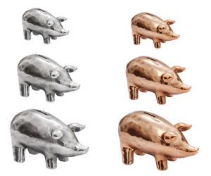 Sparschwein-Keramik-Silber-Kupfer-XXS-XXL-Spardose-Schwein-Geschenk-Gravur-Neu