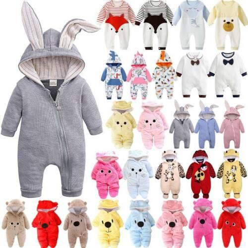 Newborn Baby Boy Girl Kids Animals Ears Hooded Romper Jumpsuit Sleepwear Clothes