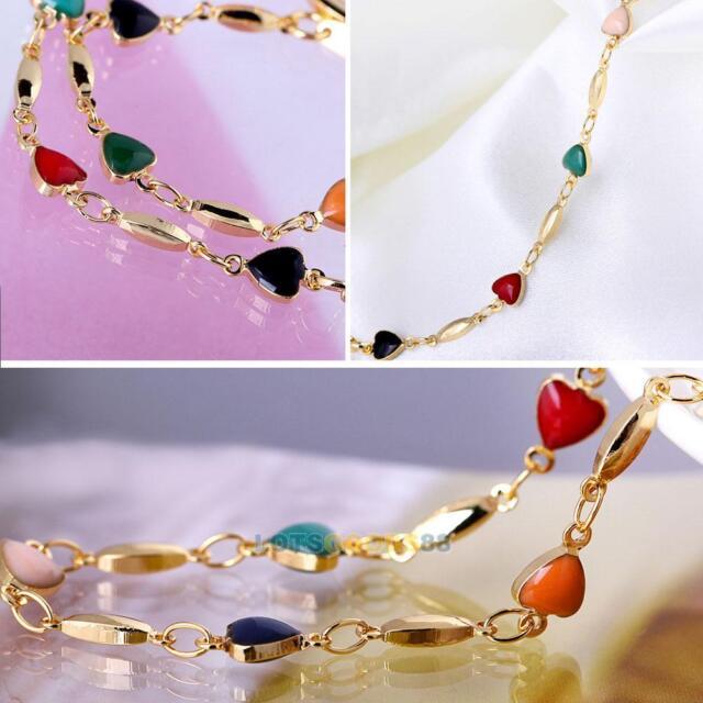 Fashion 18K Gold Plated Bracelet Bangle Multicolor Zircon Heart Bracelet LS4G