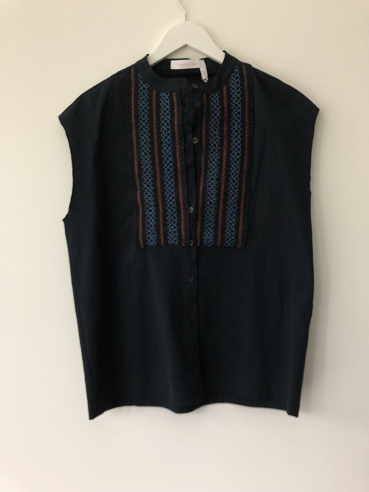 SEE BY CHLOE Sleeveless Dark Blau Cotton Blouse. FR 40