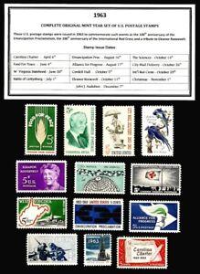 1963-COMPLETE-YEAR-SET-OF-MINT-NH-MNH-VINTAGE-U-S-POSTAGE-STAMPS