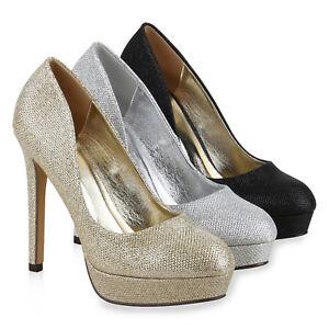 Damen-Plateau-Pumps-Glitzer-High-Heels-Metallic-Party-814500-Schuhe