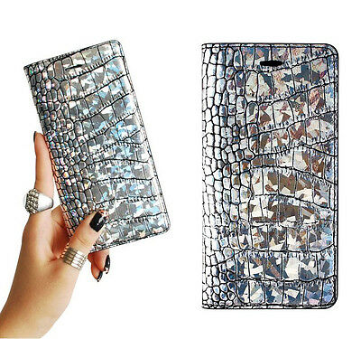 iPhone 6/6s, 6/6s Plus, 5/5s Case Leather Cover Wallet Clutch Hologram Croco
