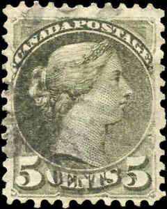 Canada-Used-1876-5c-F-Scott-38a-Perf-11-5x12-Small-Queen-Stamp