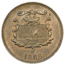 BRITISH NORTH BORNEO, VICTORIA HALF-CENT, ASIA, NEAR UNC, 1886