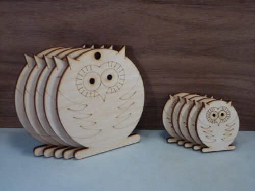 Wooden owls Shape 4mm birch ply wood craft Blank plaques and cut-outs Tags