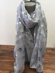 Grey-Paw-Print-Ladies-Scarf-Metalic-Glitter-Silver-Printed-Foil-Print-Dog-Cat