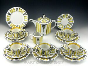 Vintage-Rudolstadt-Germany-COFFEE-TEA-SET-POT-CUPS-SAUCERS-TRIO-PLATES-Set-19PC