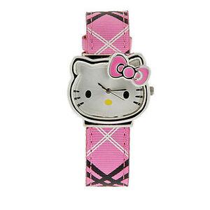Hello-Kitty-Montre-Argent-visage-jaune-nez-rose-Motif-Bande