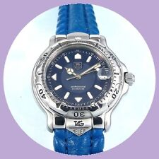 TAG Heuer Midsize Professional 6000 Blue Dial, TAG Heuer leather Strap & TAG Box