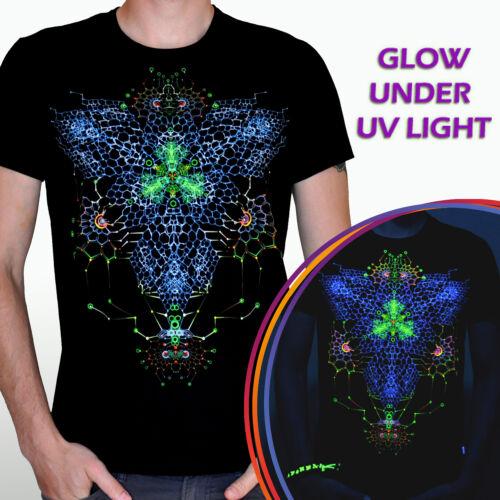 Nano fractal psychedelic t shirt goa trance UV black light lsd psy rave EDM tee