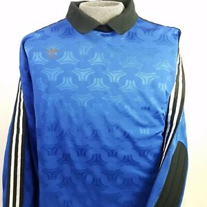 60a05b735 Image is loading Adidas-Goalie-Soccer-Jersey-Goalkeeper-Blue-Vintage-90s-