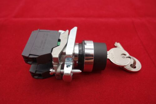 1PC 22mm Key switch 3 Position Fits Metal XB4 BG33 Maintained 2NO Key out Center