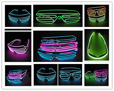 El Wire Shutter Light Up Glowing Eyewear Rave Sun Glasses Halloween Costume LED