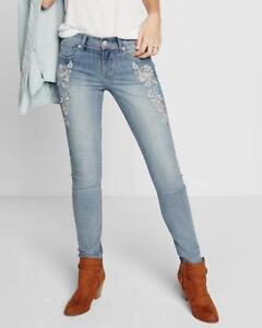 a Legging Fiori Jeans Express Rise 12 Mid ricamati Sz New Denim fiori fnvqw7CC