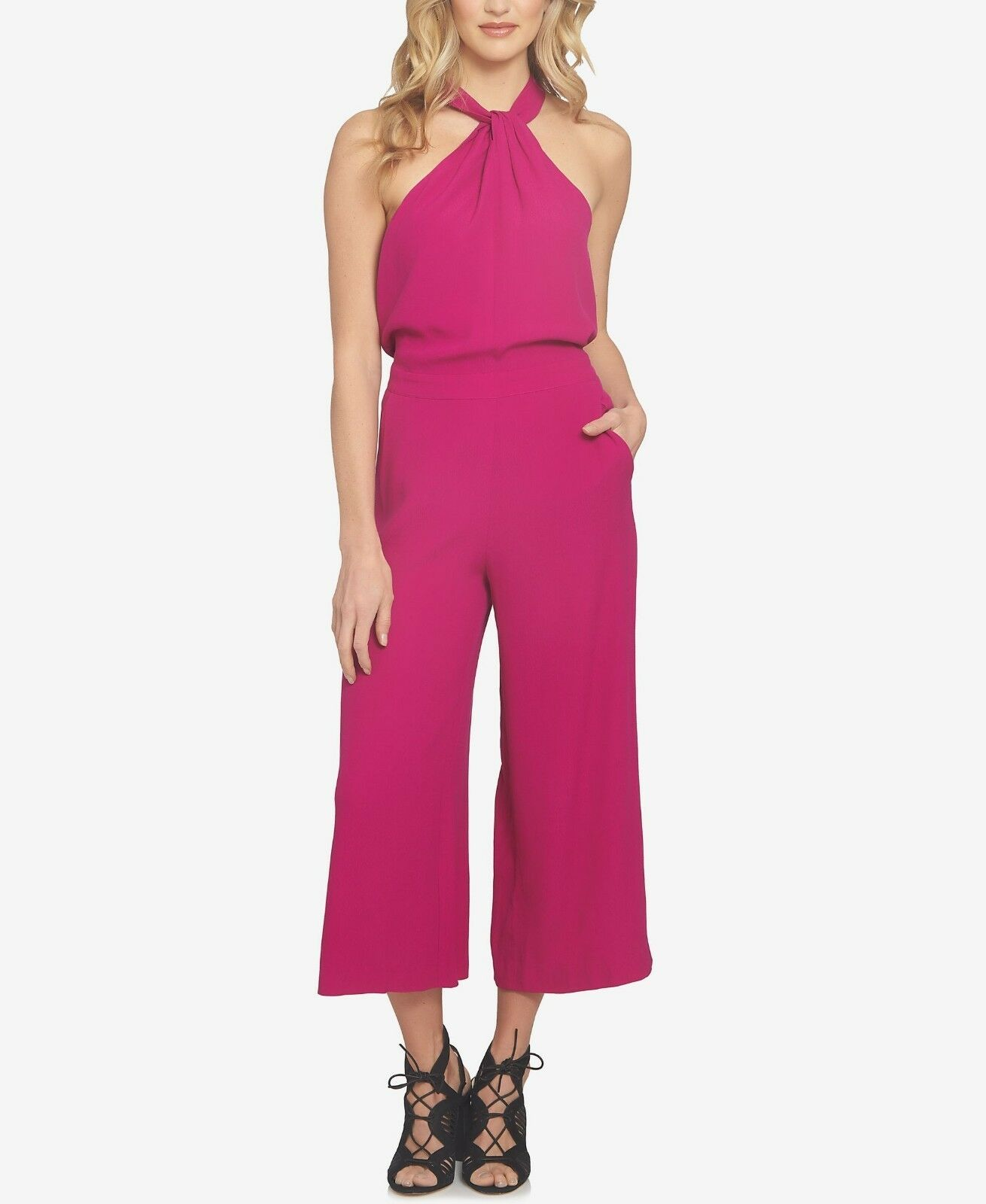 NEW 1.STATE Women's Cropped Halter Jumpsuit Tropic Berry MSRP  129.00