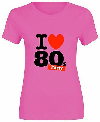 Aggressiv Ladies I Love The 80s Party T-shirt Neon Festival Short Sleeve Top Lot 6021722® AusgewäHltes Material