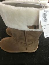 NWT Girls Old Navy Faux Fur Brown Toggle Boots sz 12 1 5 6 Big Girls