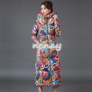 Winter-Women-Floral-Hooded-Down-Coat-Long-Puffer-Jacket-Belt-Slim-Fit-Warm-Parka