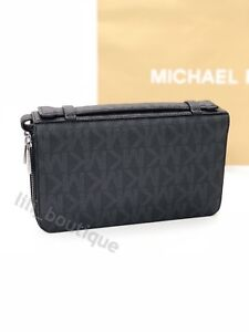 Details About Nwt Michael Kors Jet Set Men Signature Money Bag Wallet Double Zip Pvc Black 268