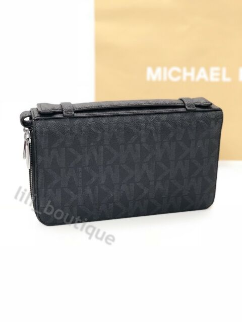 0ce8b2e6f9c2bb NWT Michael Kors Jet Set Men Signature Money Bag Wallet Double Zip PVC  Black 268