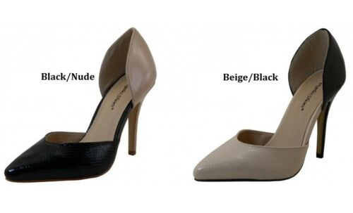 Womens Two Tone Hi Heel Pumps Shoes Black Nude Beige Black 6 7 8 9 10