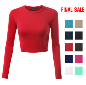 f6988da5a94bc FINAL SALE Doublju Basic Long Sleeve Crop Top For Women With Plus ...